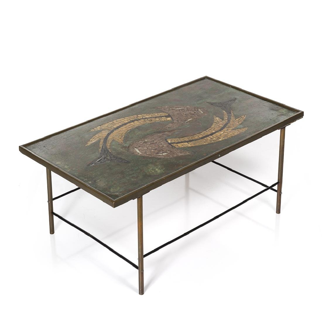 French Bronze and Tile Coffee Table