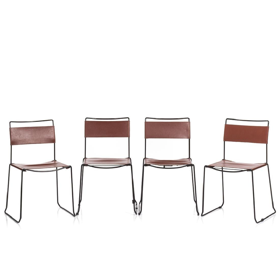 Leather Sling Stacking Chairs (4)