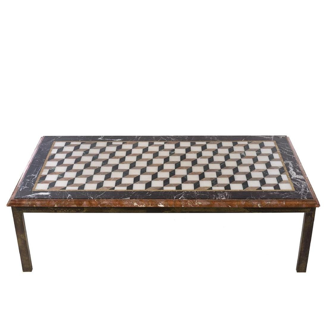 Marble and Brass Framed Coffee Table - 2