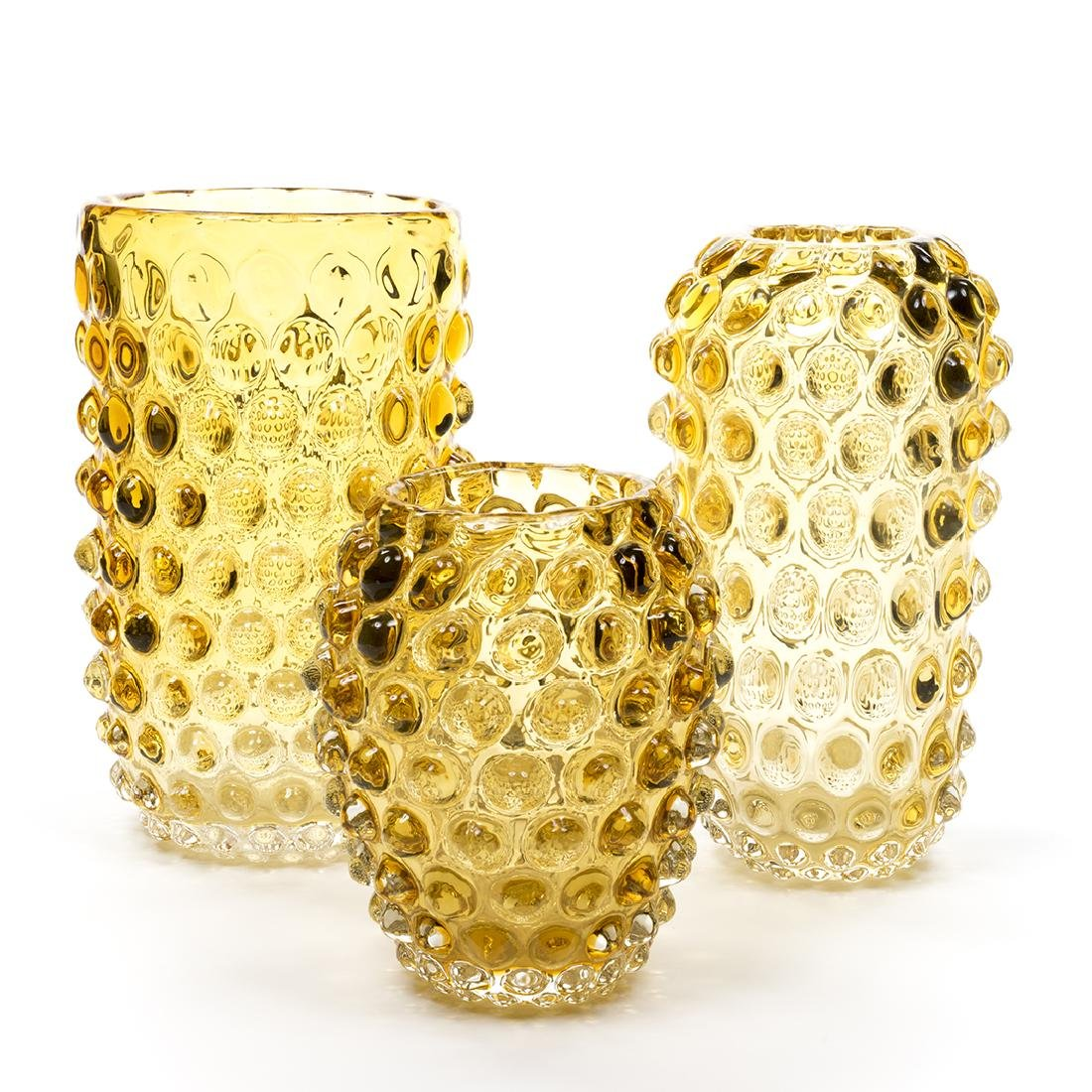 Murano Glass Amber Vases (3)