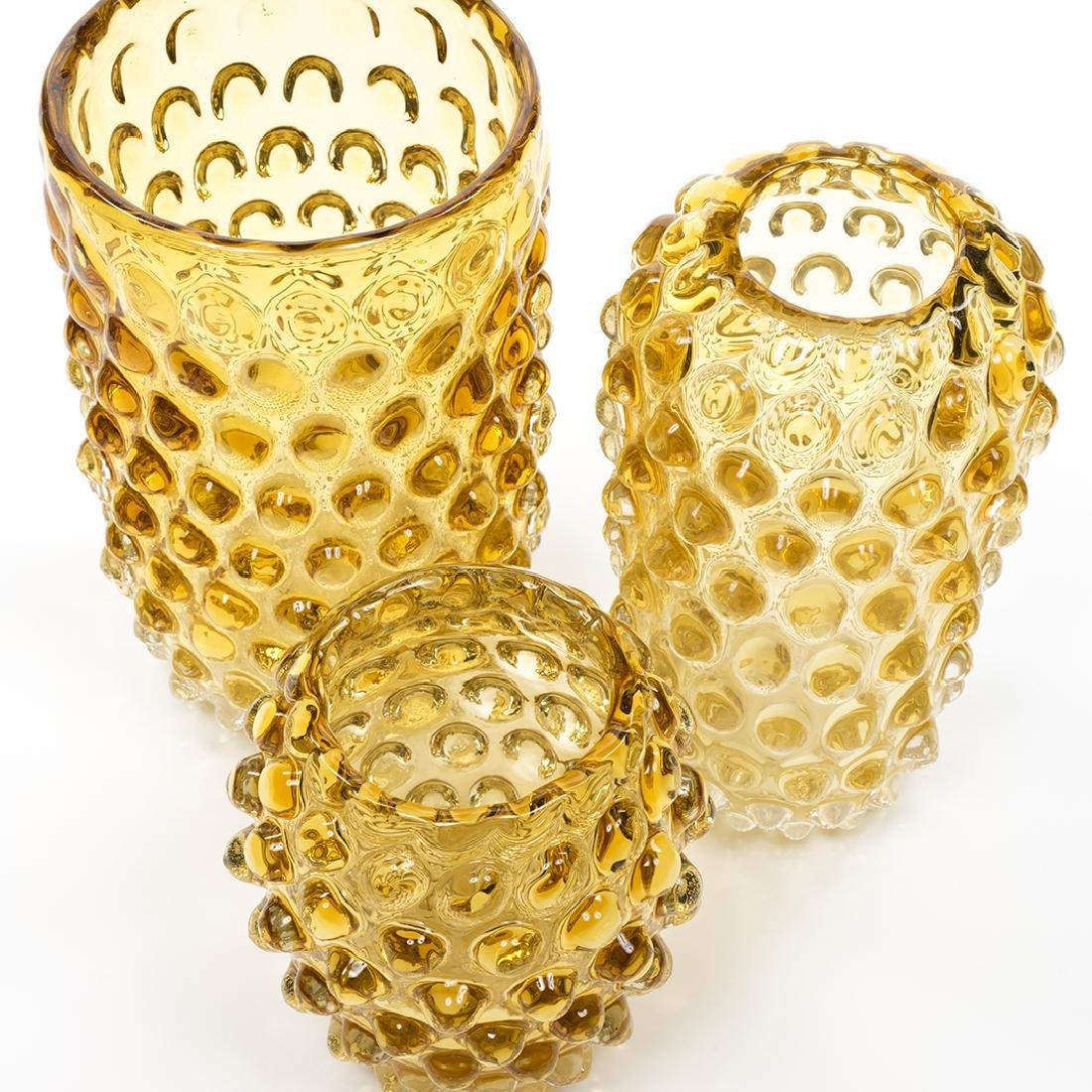 Murano Glass Amber Vases (3) - 3