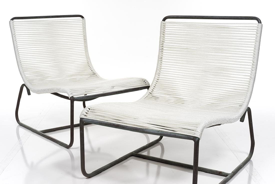 Walter Lamb Sled Chairs and Ottoman (3) - 5