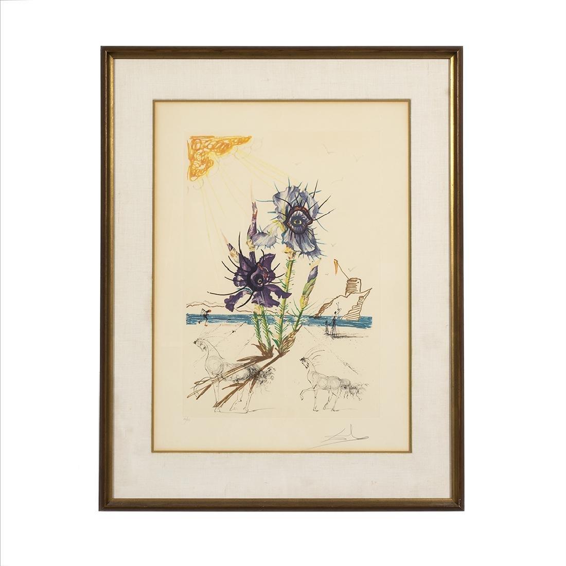 Salvador Dali Surrealistic Flower Lithograph
