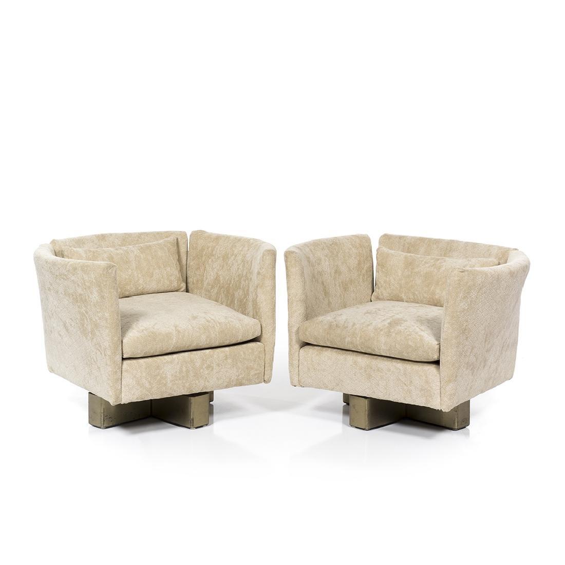 Milo Baughman Style Swivel Club Chairs (2)