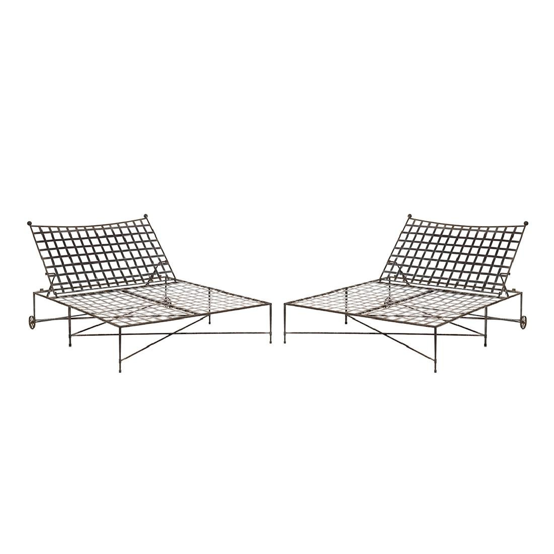 Double Wide Iron Chaise Lounges (2)
