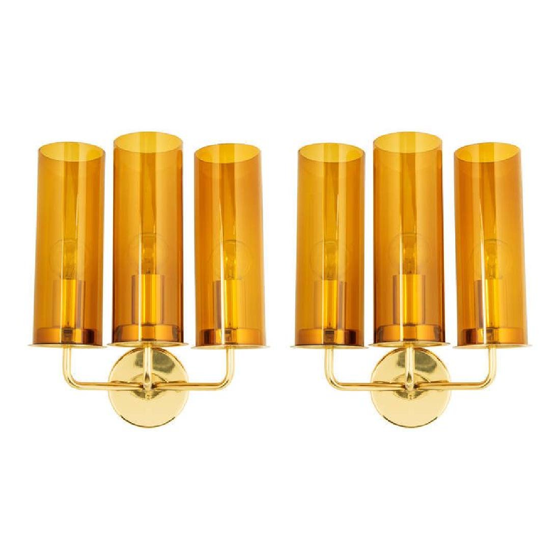 Hans Agne Jakobsson Glass and Brass Sconces (2)