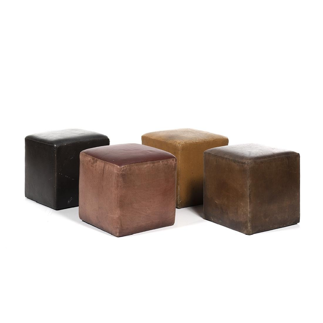 Distressed Leather Ottomans (4)