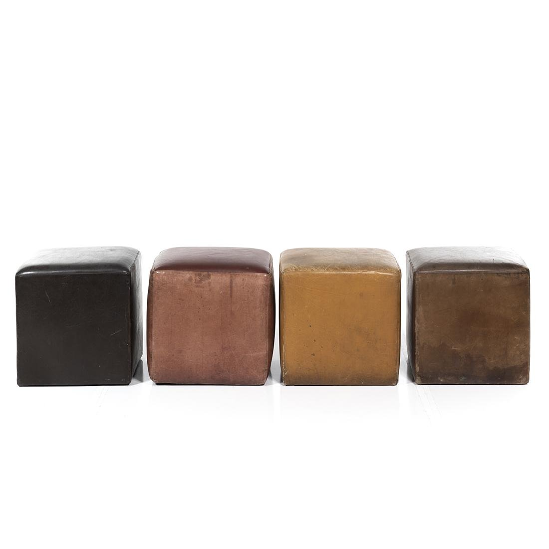 Distressed Leather Ottomans (4) - 2