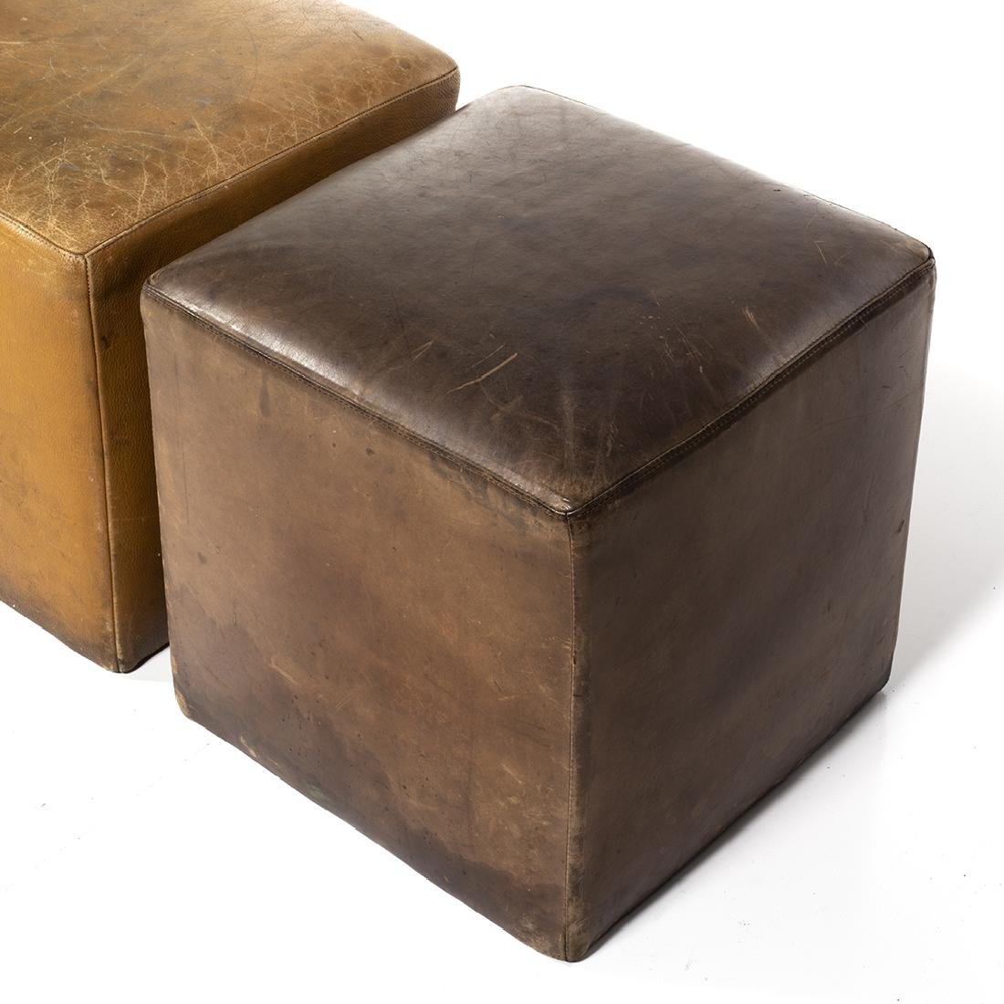 Distressed Leather Ottomans (4) - 4