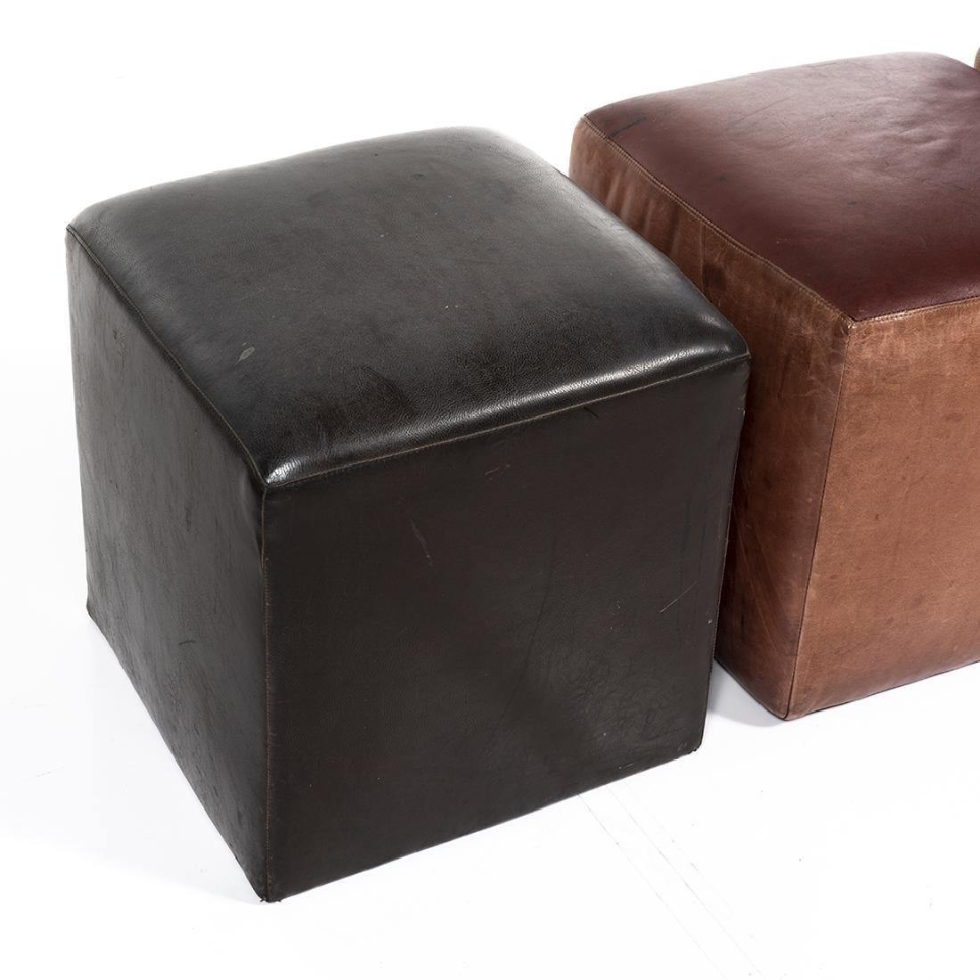 Distressed Leather Ottomans (4) - 5