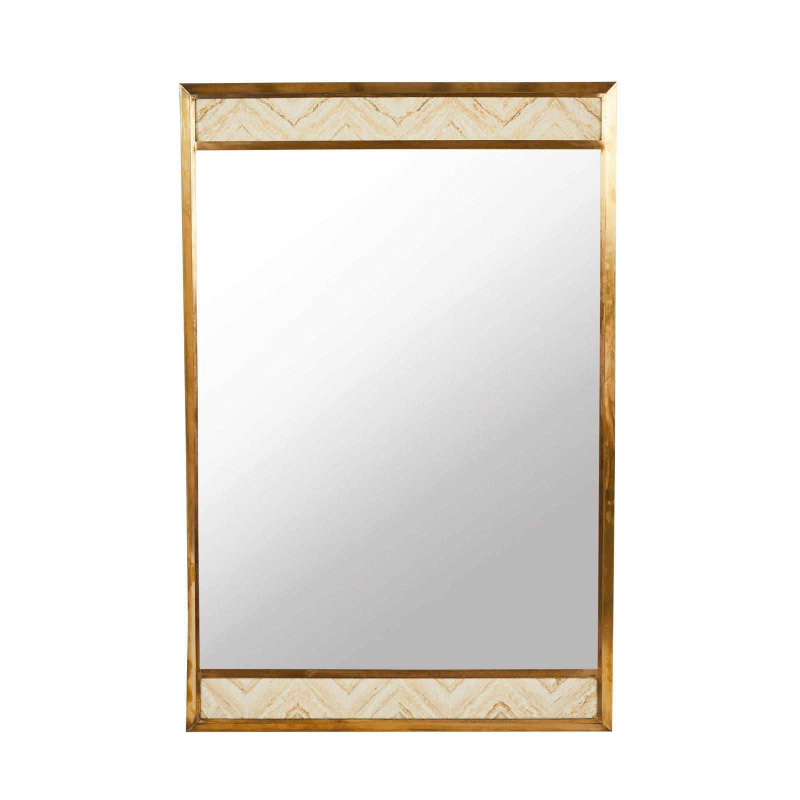 Brass and Travertine Wall Mirror