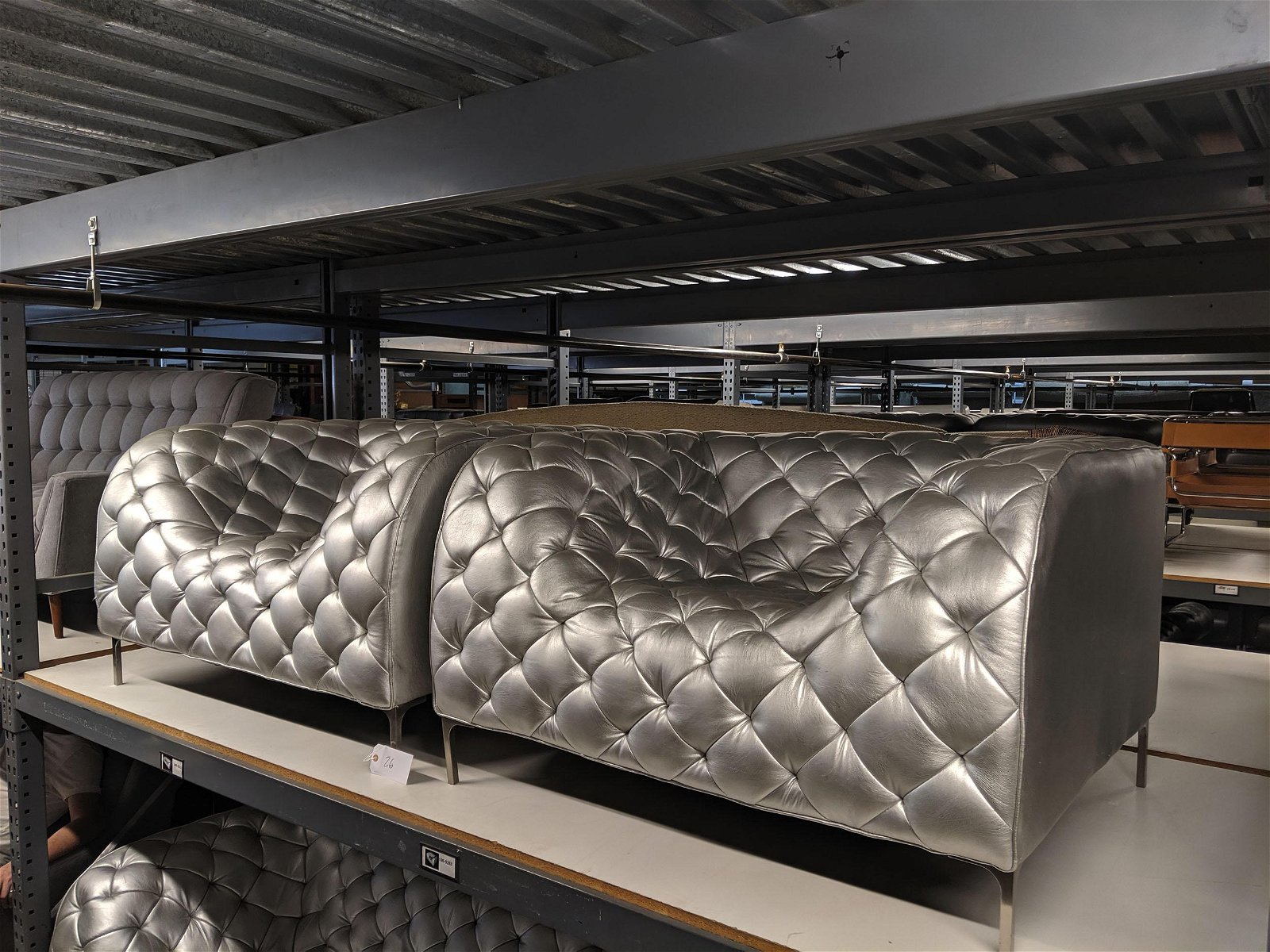 Quilted Silver Seating Set (3)