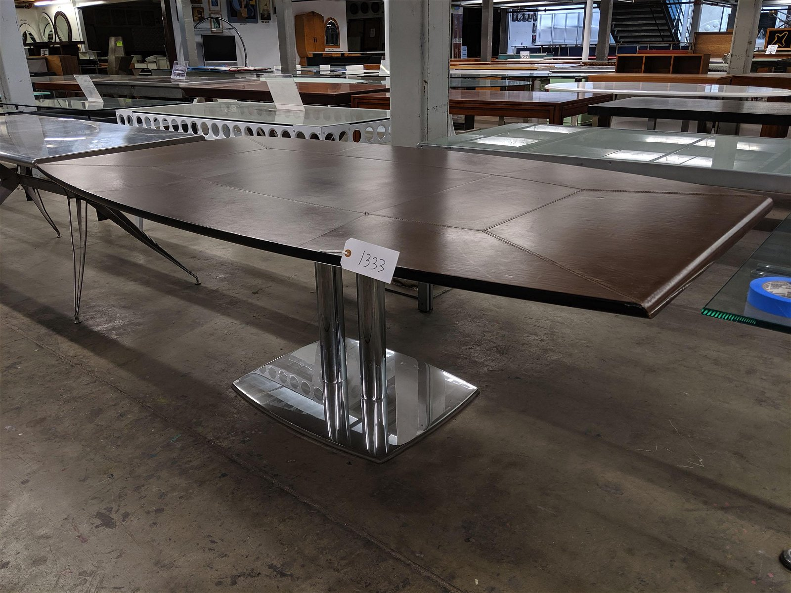 Leather Topped Dining Table