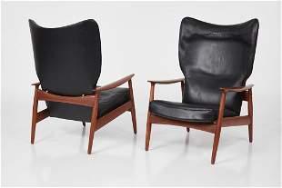 Danish, High-Back Reclining Lounge Chairs (2)