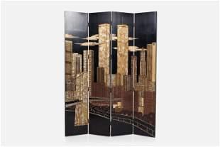 Maitland-Smith, Four-Panel 'Manhattan' Folding Screen
