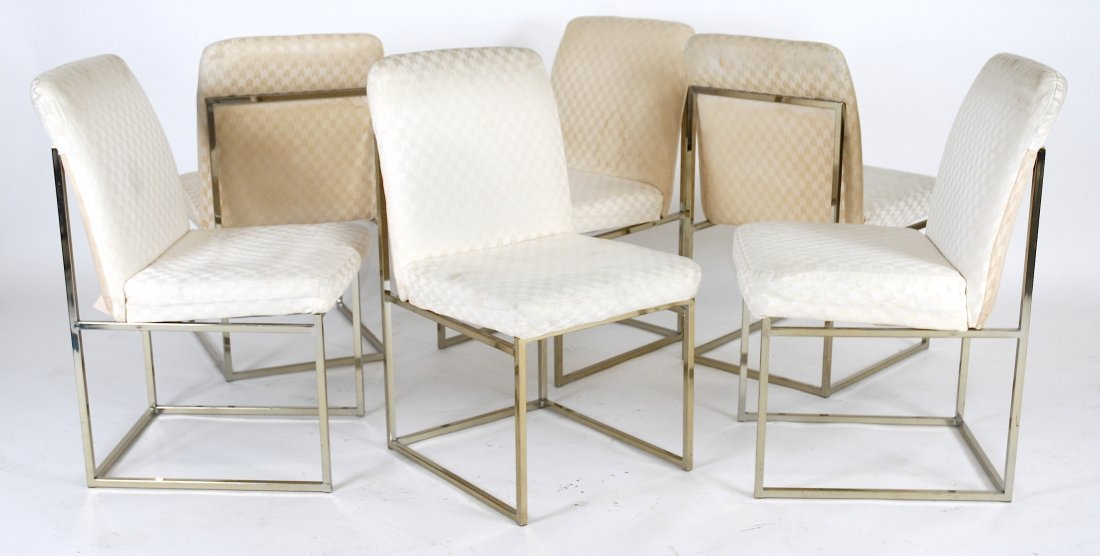 Brass frame dining chairs in the style of Milo Baughman