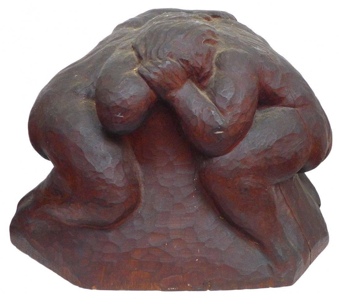 Wrestlers chip carved wood sculpture