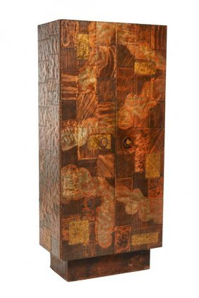 Paul Evans Patchwork Copper And Brass Cabinet