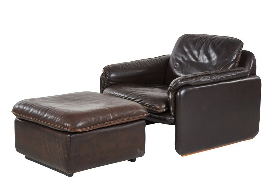 De Sede leather lounge chair and ottoman