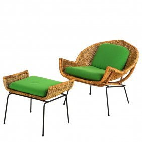 Rattan Chair And Ottoman In The Manner Of Danny Ho Fong