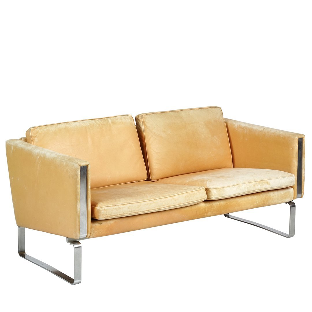 Hans Wegner JH-802 leather and chrome sofa