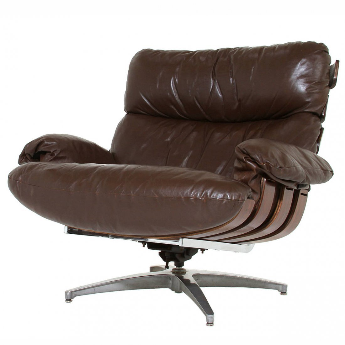 Directional rosewood and leather swivel chair