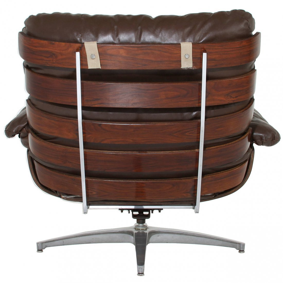 Directional rosewood and leather swivel chair - 2