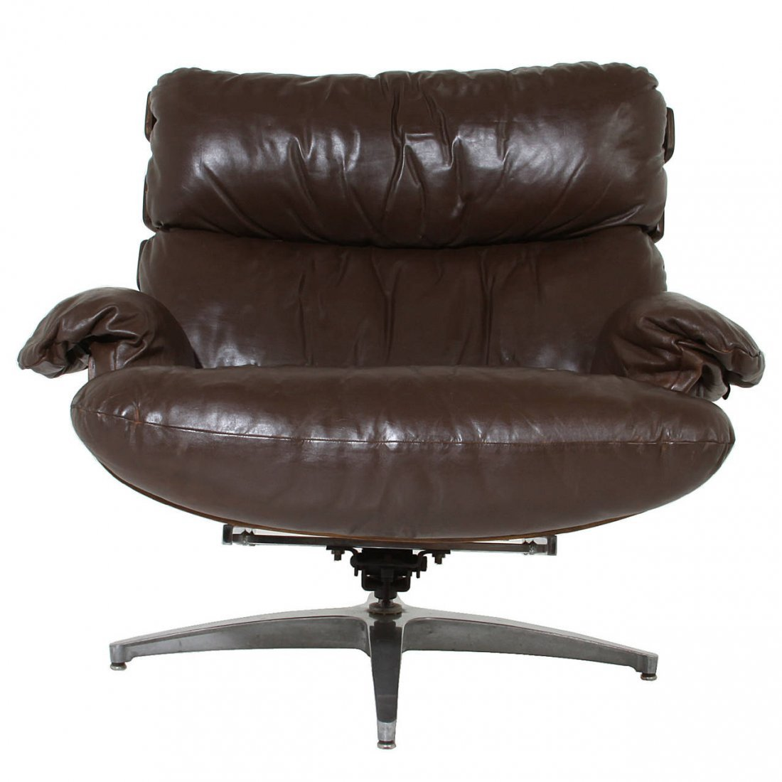 Directional rosewood and leather swivel chair - 5