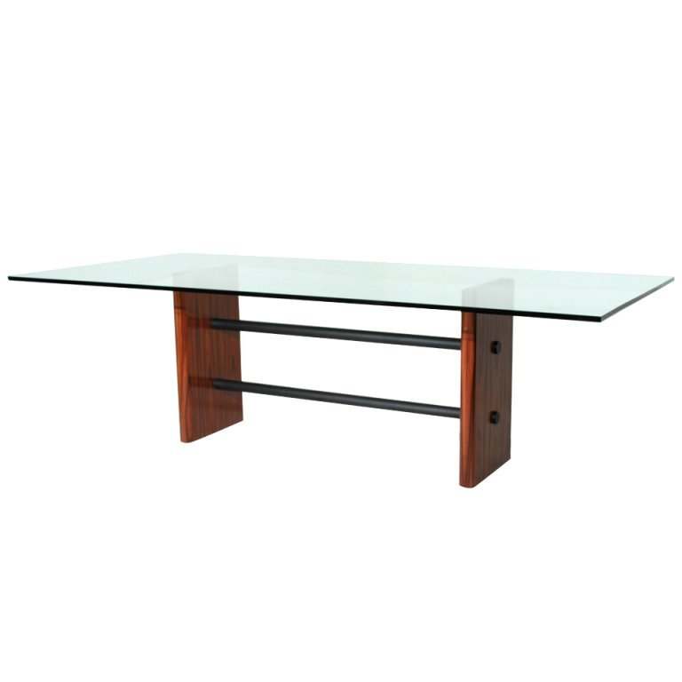 Rosewood table with glass top