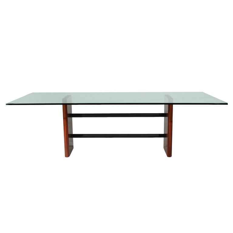 Rosewood table with glass top - 2