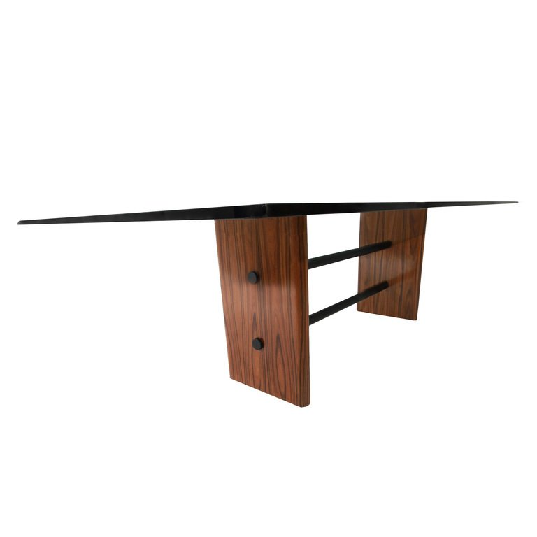 Rosewood table with glass top - 3