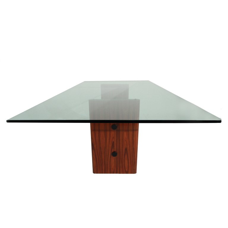 Rosewood table with glass top - 4