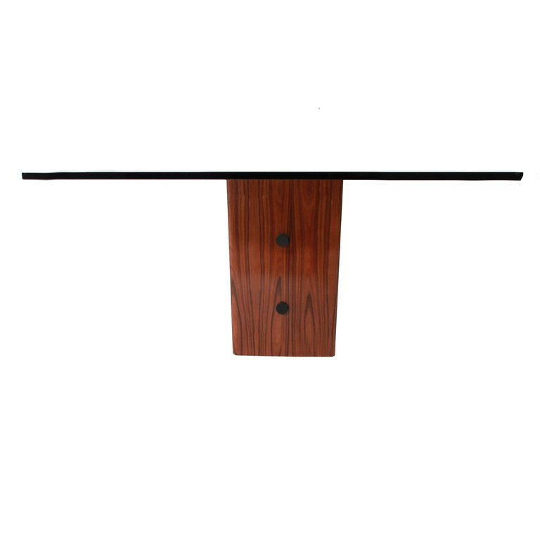 Rosewood table with glass top - 5