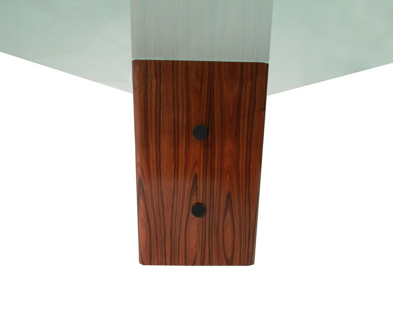Rosewood table with glass top - 6