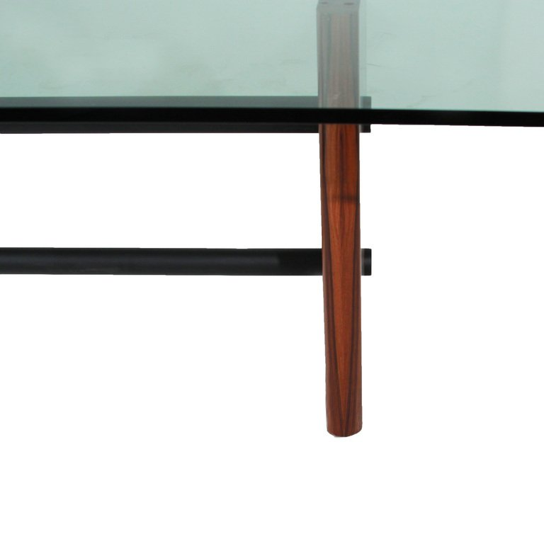 Rosewood table with glass top - 7