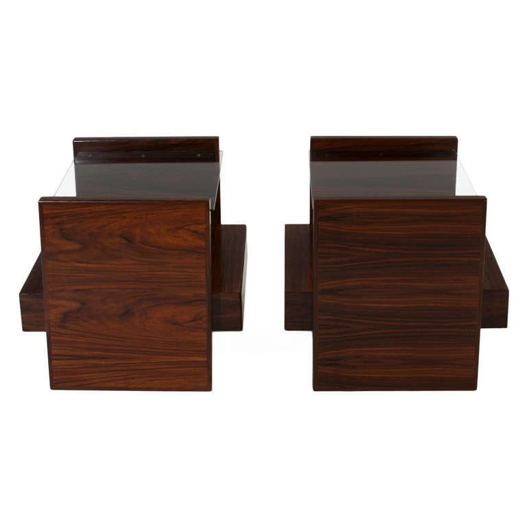 Celina Moveis rosewood side tables (2) - 3