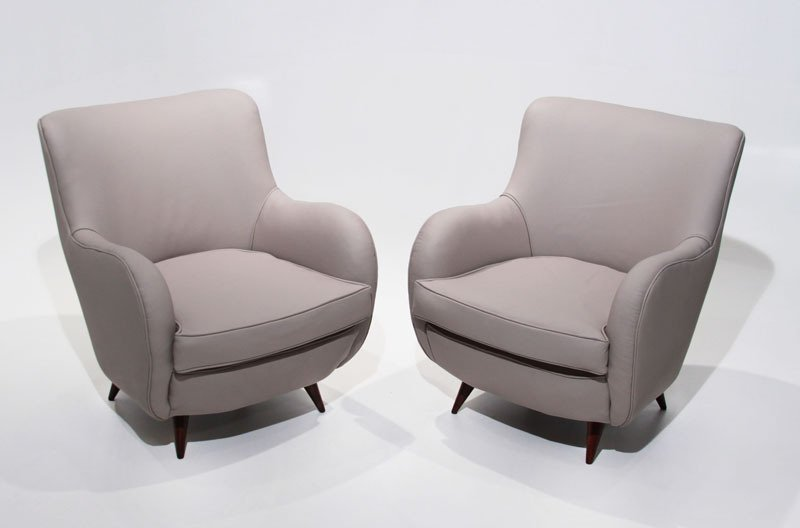 Sculptural leather armchairs (2) - 2