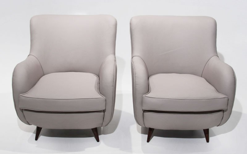 Sculptural leather armchairs (2) - 3