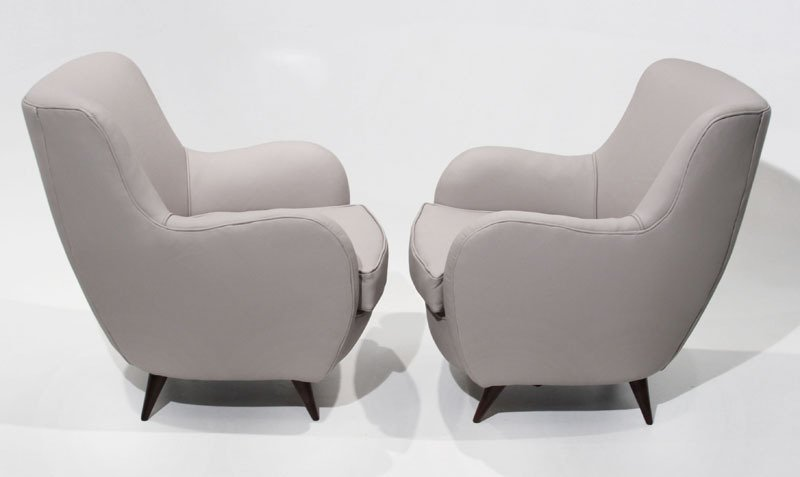 Sculptural leather armchairs (2) - 4