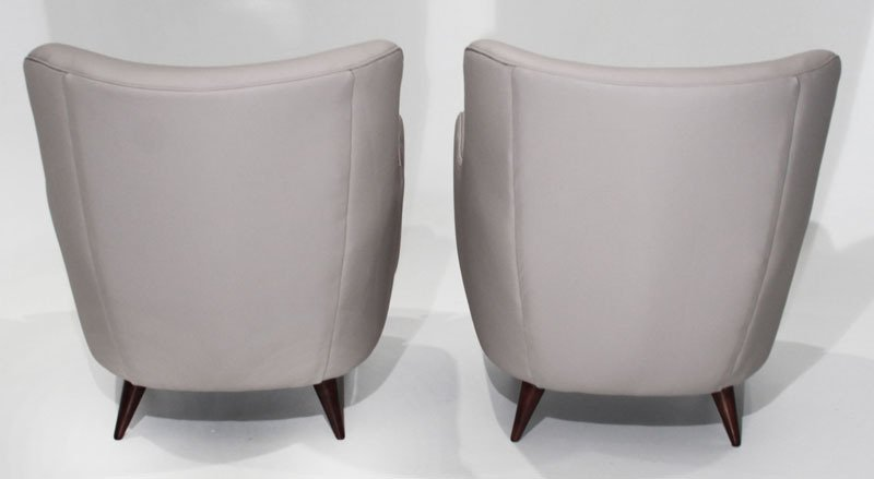 Sculptural leather armchairs (2) - 5