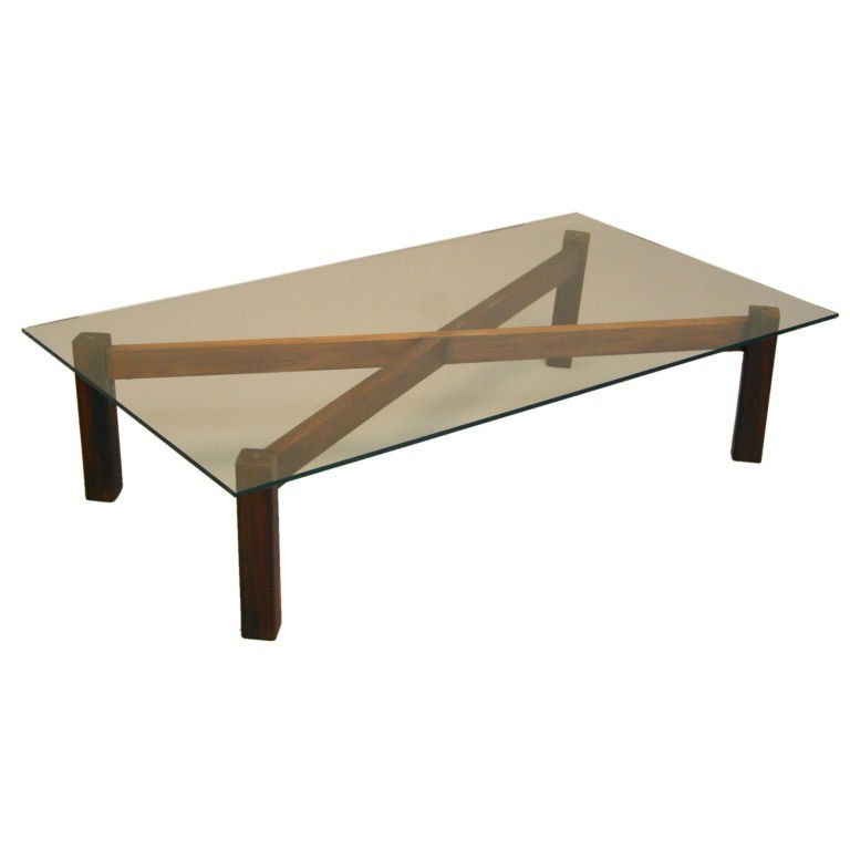 Brazilian rosewood x-base coffee table