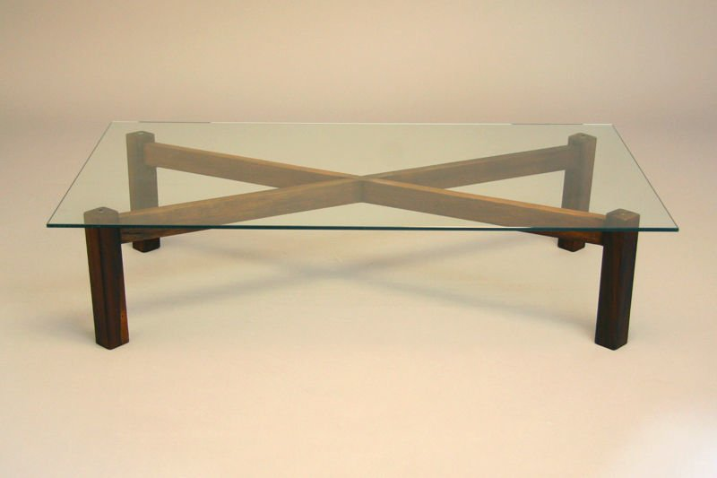 Brazilian rosewood x-base coffee table - 2