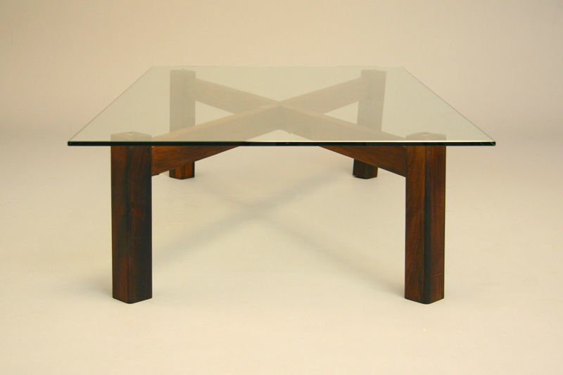 Brazilian rosewood x-base coffee table - 4