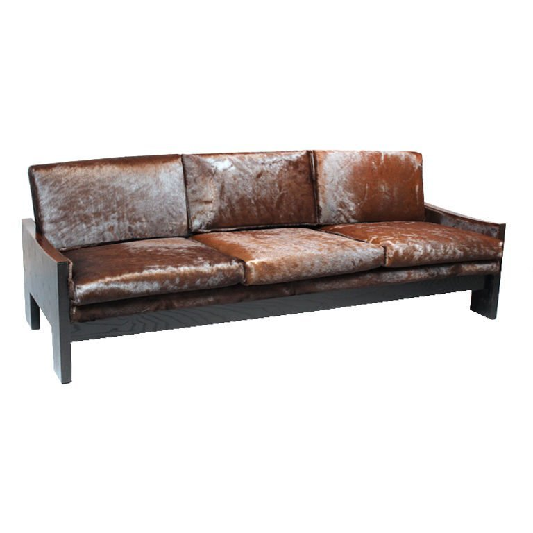 Rosewood and ebonized oak sofa