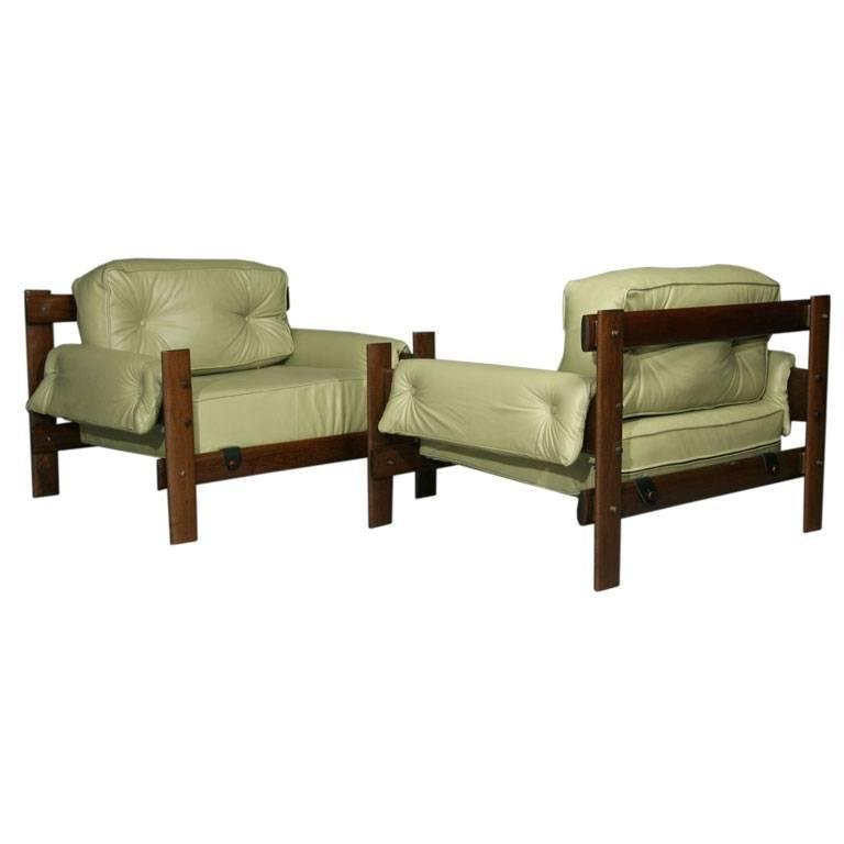 Exotic Brazilian wood and leather armchairs