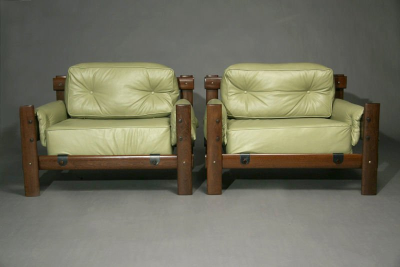 Exotic Brazilian wood and leather armchairs - 2