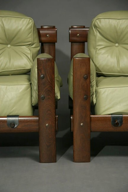 Exotic Brazilian wood and leather armchairs - 3
