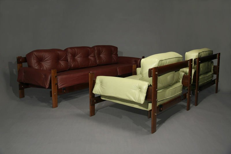Exotic Brazilian wood and leather armchairs - 4