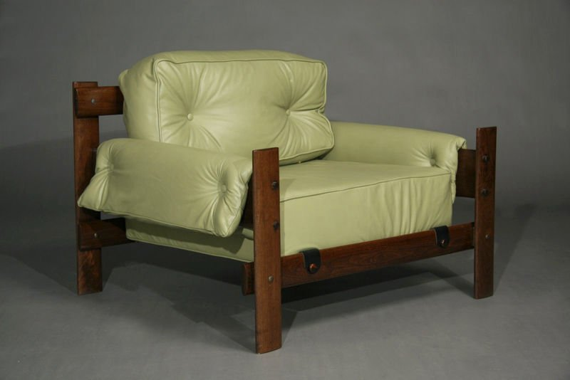 Exotic Brazilian wood and leather armchairs - 5