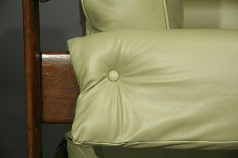 Exotic Brazilian wood and leather armchairs - 9